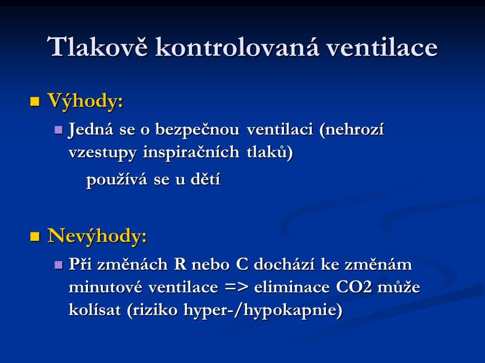 Tlakově kontrolovaná ventilace Výhody: Výhody: Jedná se o bezpečnou ventilaci (nehrozí vzestupy inspiračních tlaků) Jedná se o bezpečnou ventilaci (nehrozí vzestupy inspiračních tlaků) používá se u dětí používá se u dětí Nevýhody: Nevýhody: Při změnách R nebo C dochází ke změnám minutové ventilace => eliminace CO2 může kolísat (riziko hyper-/hypokapnie) Při změnách R nebo C dochází ke změnám minutové ventilace => eliminace CO2 může kolísat (riziko hyper-/hypokapnie)