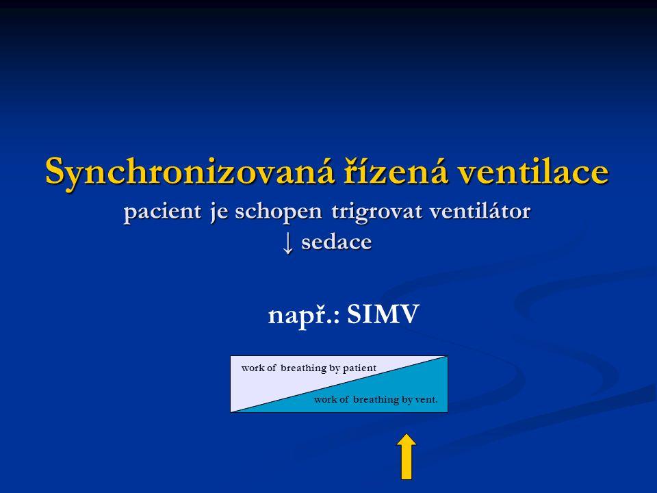 Synchronizovaná řízená ventilace pacient je schopen trigrovat ventilátor ↓ sedace např.: SIMV work of breathing by patient work of breathing by vent.