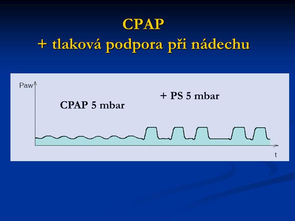 CPAP + tlaková podpora při nádechu CPAP 5 mbar + PS 5 mbar