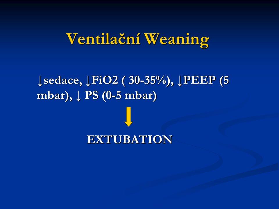 Ventilační Weaning ↓sedace, ↓FiO2 ( 30-35%), ↓PEEP (5 mbar), ↓ PS (0-5 mbar) EXTUBATION EXTUBATION