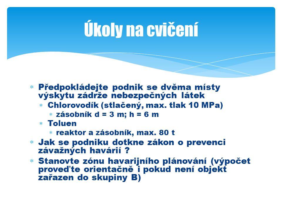  Předpokládejte podnik se dvěma místy výskytu zádrže nebezpečných látek  Chlorovodík (stlačený, max.