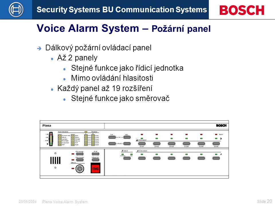 Security Systems BU Communication Systems Slide 20 Plena Voice Alarm System 25/06/2004 Voice Alarm System – Požární panel  Dálkový požární ovládací p