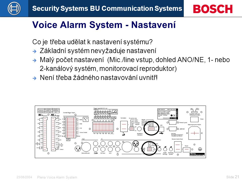 Security Systems BU Communication Systems Slide 21 Plena Voice Alarm System 25/06/2004 Voice Alarm System - Nastavení Co je třeba udělat k nastavení s