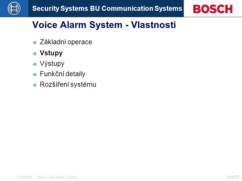 Security Systems BU Communication Systems Slide 23 Plena Voice Alarm System 25/06/2004 Voice Alarm System - Vlastnosti  Základní operace  Vstupy  Výstupy  Funkční detaily  Rozšíření systému