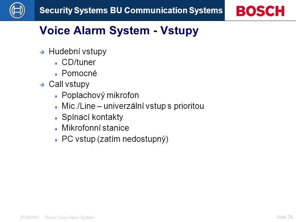 Security Systems BU Communication Systems Slide 24 Plena Voice Alarm System 25/06/2004 Voice Alarm System - Vstupy  Hudební vstupy CD/tuner Pomocné  Call vstupy Poplachový mikrofon Mic./Line – univerzální vstup s prioritou Spínací kontakty Mikrofonní stanice PC vstup (zatím nedostupný)