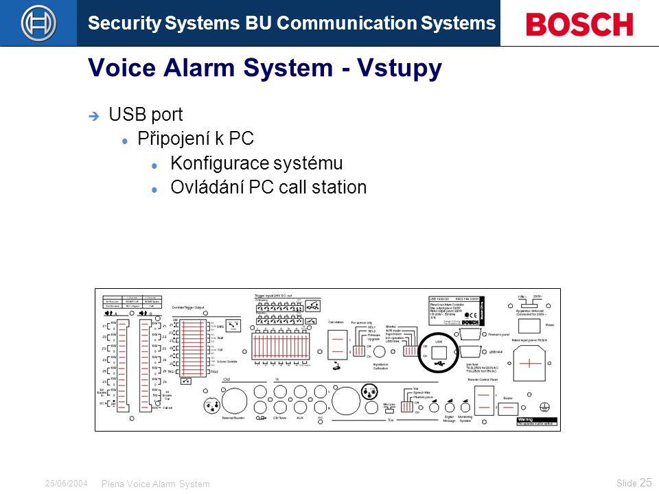 Security Systems BU Communication Systems Slide 25 Plena Voice Alarm System 25/06/2004 Voice Alarm System - Vstupy  USB port Připojení k PC Konfigurace systému Ovládání PC call station