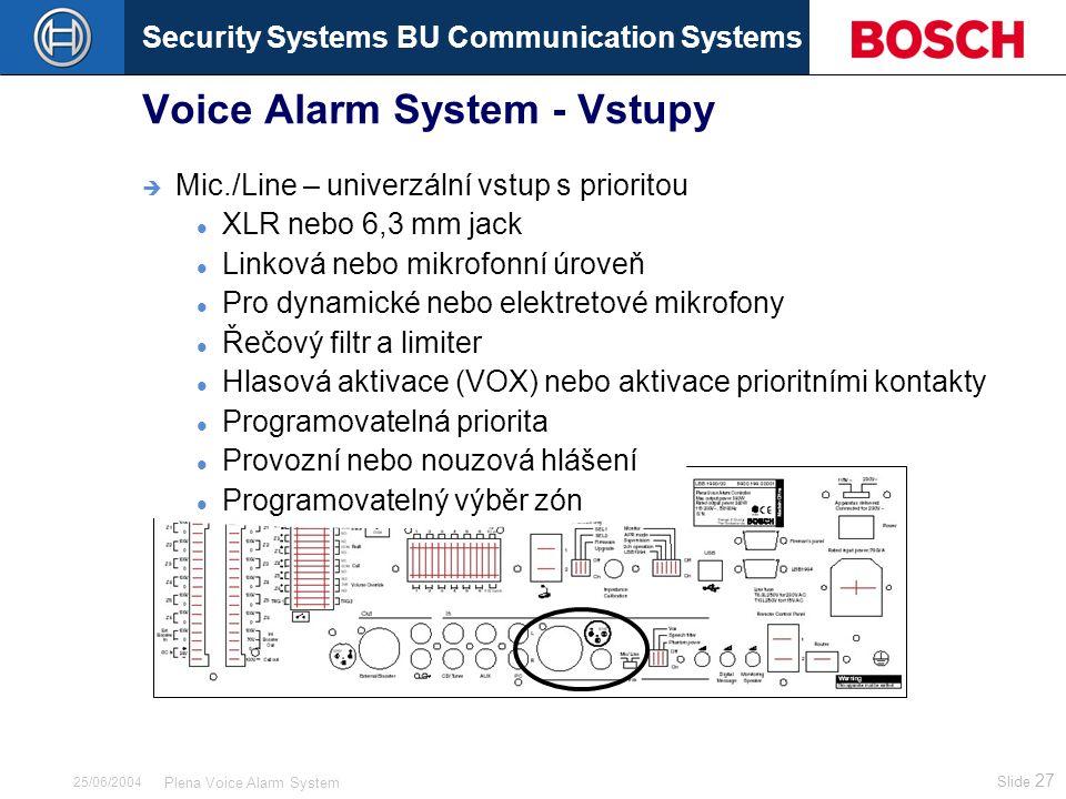 Security Systems BU Communication Systems Slide 27 Plena Voice Alarm System 25/06/2004 Voice Alarm System - Vstupy  Mic./Line – univerzální vstup s p