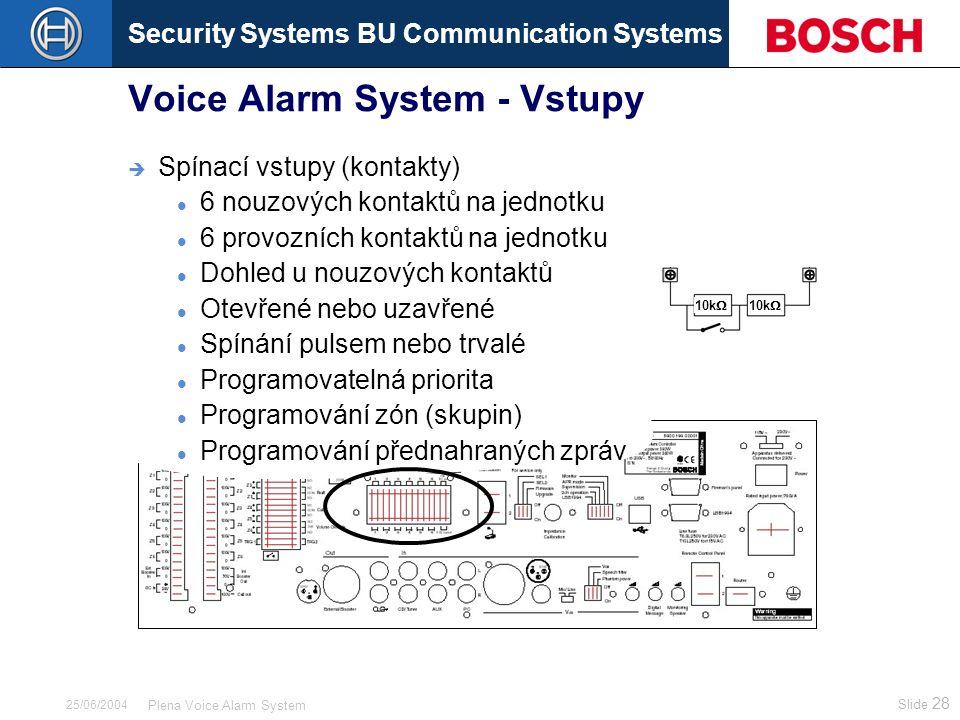 Security Systems BU Communication Systems Slide 28 Plena Voice Alarm System 25/06/2004 Voice Alarm System - Vstupy  Spínací vstupy (kontakty) 6 nouzových kontaktů na jednotku 6 provozních kontaktů na jednotku Dohled u nouzových kontaktů Otevřené nebo uzavřené Spínání pulsem nebo trvalé Programovatelná priorita Programování zón (skupin) Programování přednahraných zpráv 10k 