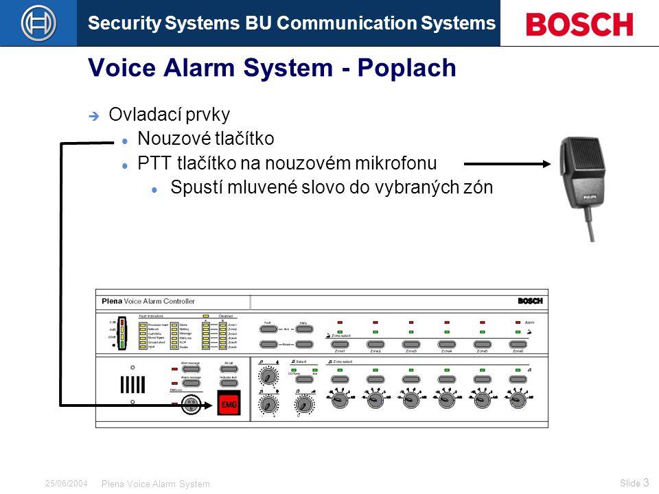 Security Systems BU Communication Systems Slide 4 Plena Voice Alarm System 25/06/2004 Voice Alarm System - Poplach  Ovládací prvky Nouzové tlačítko PTT tlačítko na nouzovém mikrofonu Alarmové tlačítko Spustí alarmovou zprávu do vybraných zón