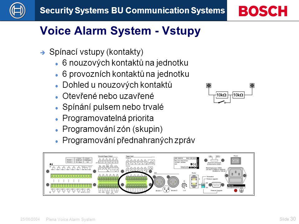 Security Systems BU Communication Systems Slide 30 Plena Voice Alarm System 25/06/2004 Voice Alarm System - Vstupy  Spínací vstupy (kontakty) 6 nouzových kontaktů na jednotku 6 provozních kontaktů na jednotku Dohled u nouzových kontaktů Otevřené nebo uzavřené Spínání pulsem nebo trvalé Programovatelná priorita Programování zón (skupin) Programování přednahraných zpráv 10k 