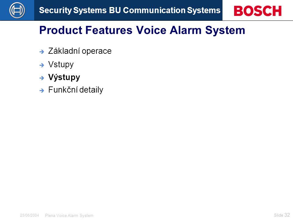 Security Systems BU Communication Systems Slide 32 Plena Voice Alarm System 25/06/2004 Product Features Voice Alarm System  Základní operace  Vstupy