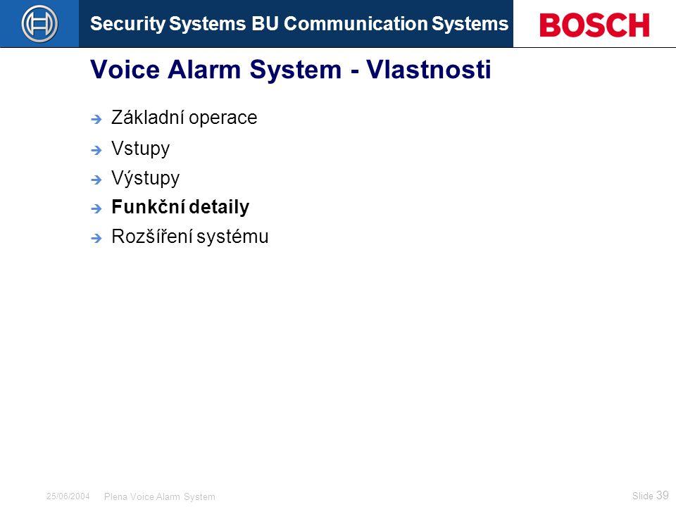 Security Systems BU Communication Systems Slide 39 Plena Voice Alarm System 25/06/2004 Voice Alarm System - Vlastnosti  Základní operace  Vstupy  V