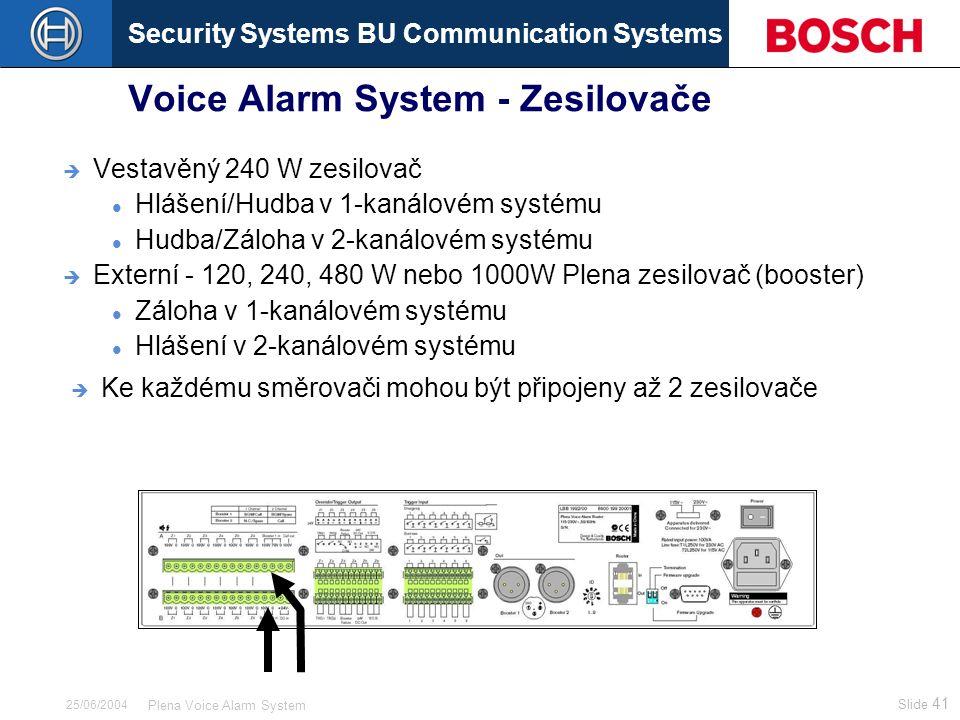 Security Systems BU Communication Systems Slide 41 Plena Voice Alarm System 25/06/2004 Voice Alarm System - Zesilovače  Vestavěný 240 W zesilovač Hlášení/Hudba v 1-kanálovém systému Hudba/Záloha v 2-kanálovém systému  Externí - 120, 240, 480 W nebo 1000W Plena zesilovač (booster) Záloha v 1-kanálovém systému Hlášení v 2-kanálovém systému  Ke každému směrovači mohou být připojeny až 2 zesilovače