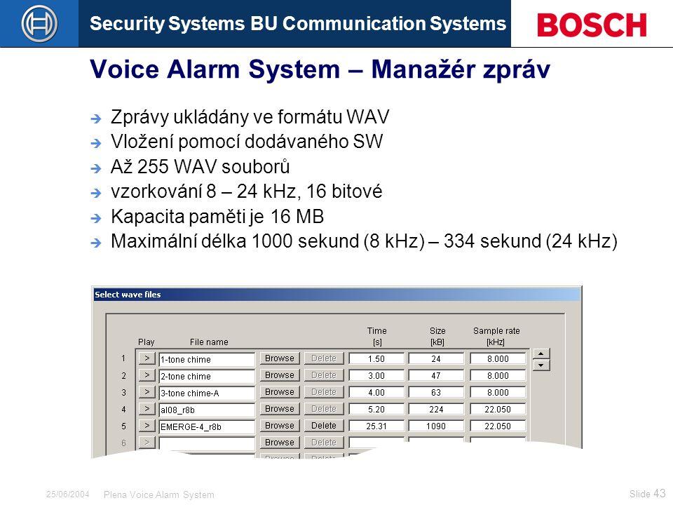 Security Systems BU Communication Systems Slide 43 Plena Voice Alarm System 25/06/2004 Voice Alarm System – Manažér zpráv  Zprávy ukládány ve formátu