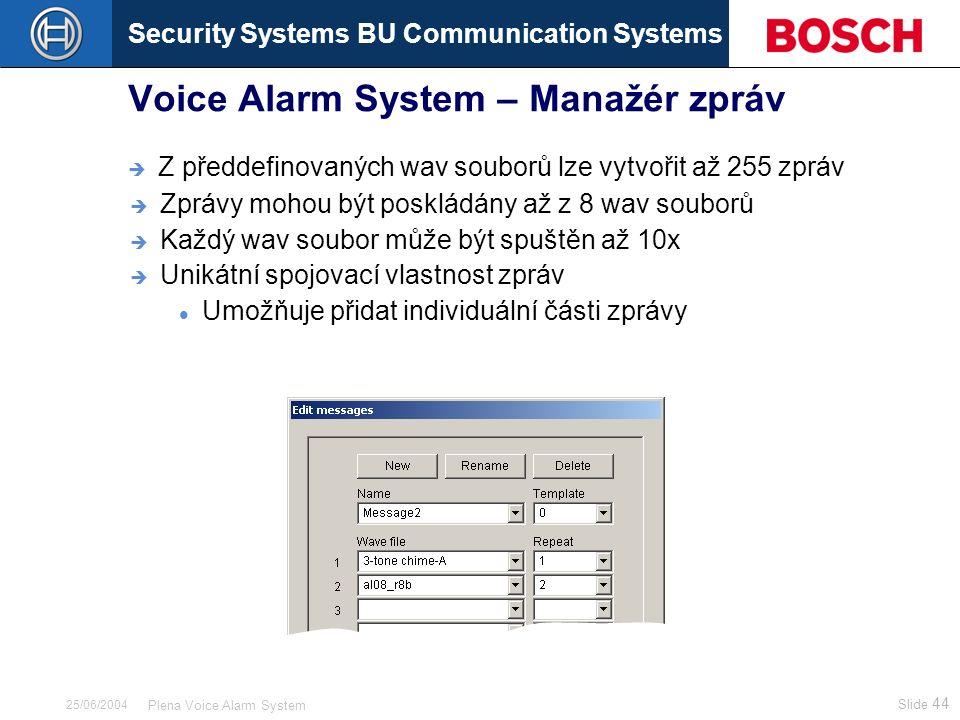Security Systems BU Communication Systems Slide 44 Plena Voice Alarm System 25/06/2004 Voice Alarm System – Manažér zpráv  Z předdefinovaných wav sou