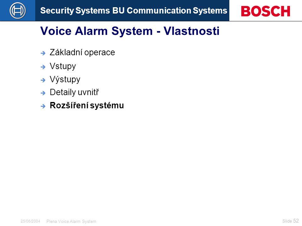Security Systems BU Communication Systems Slide 52 Plena Voice Alarm System 25/06/2004 Voice Alarm System - Vlastnosti  Základní operace  Vstupy  Výstupy  Detaily uvnitř  Rozšíření systému