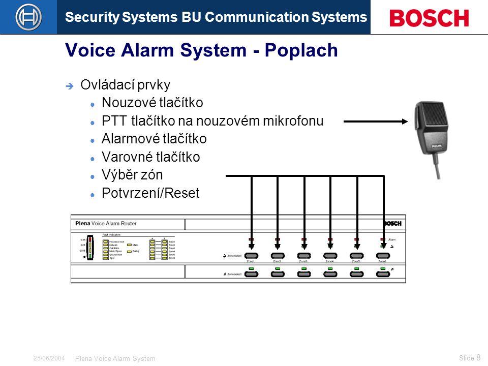 Security Systems BU Communication Systems Slide 49 Plena Voice Alarm System 25/06/2004 Voice Alarm System – Dohled (obsah) Dohled u:  CPU (řídicí jednotka) Watchdog  Síťová komunikace Mezi řídicí jednotkou a směrovači nebo požárními panely Napájení Automatické přepnutí na záložní zdroj 24 V  Manažer zpráv (záznamník) Kontrola paměti Generátor zpráv (pilotní signál)  Mic./Line vstup Detekce pilotního kmitočtu