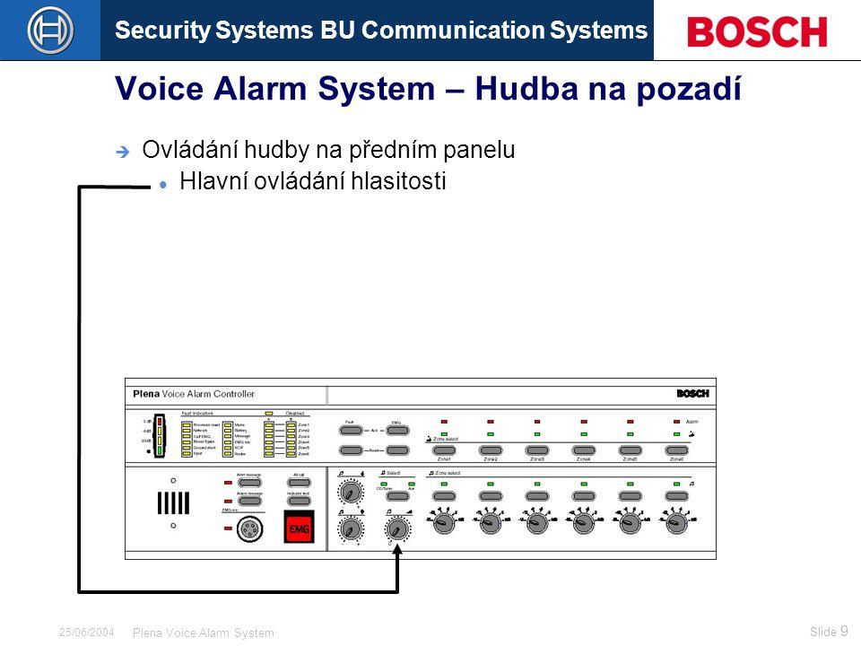 Security Systems BU Communication Systems Slide 9 Plena Voice Alarm System 25/06/2004 Voice Alarm System – Hudba na pozadí  Ovládání hudby na předním panelu Hlavní ovládání hlasitosti