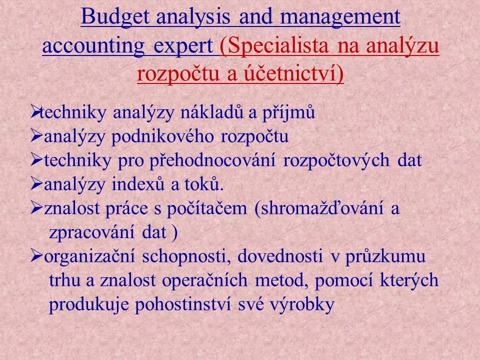 Budget analysis and management accounting expert (Specialista na analýzu rozpočtu a účetnictví)  techniky analýzy nákladů a příjmů  analýzy podnikov