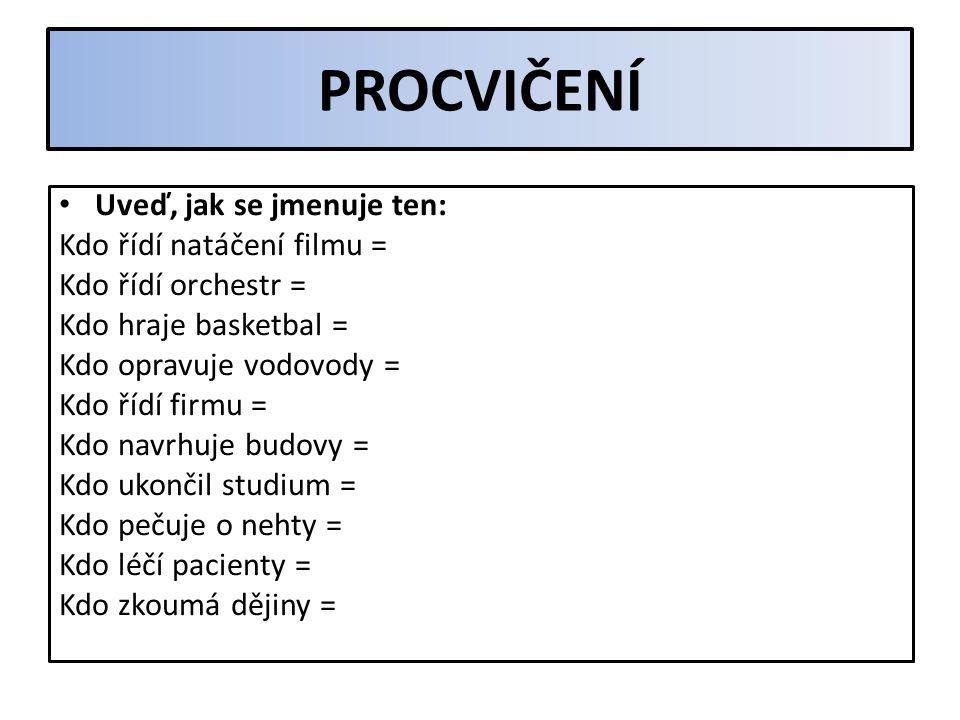 PROCVIČENÍ Napiš, co znamenají tato slova: volejbal – subjektivní – pozitivní – interview – epidemie – symptom – lingvista – idea – imitace – absolutn