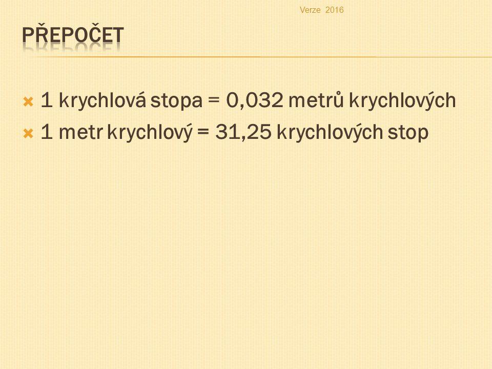  1 krychlová stopa = 0,032 metrů krychlových  1 metr krychlový = 31,25 krychlových stop Verze 2016