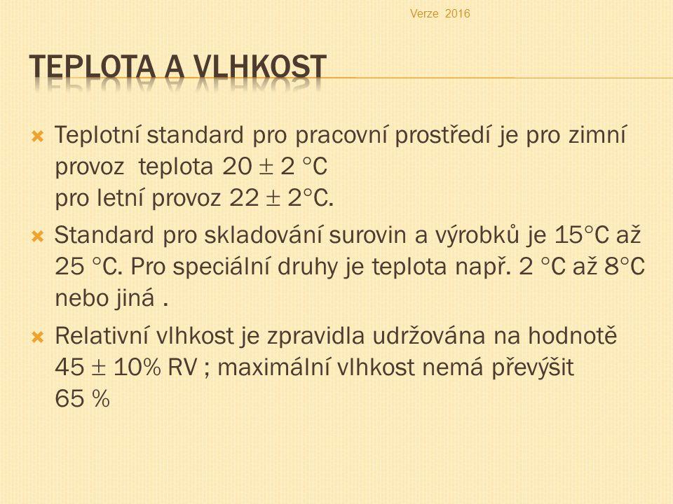  Teplotní standard pro pracovní prostředí je pro zimní provoz teplota 20  2 °C pro letní provoz 22  2°C.