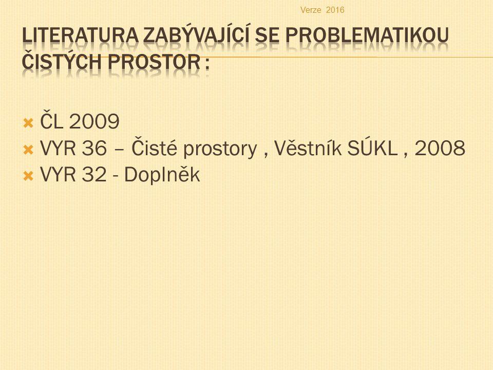  ČL 2009  VYR 36 – Čisté prostory, Věstník SÚKL, 2008  VYR 32 - Doplněk Verze 2016