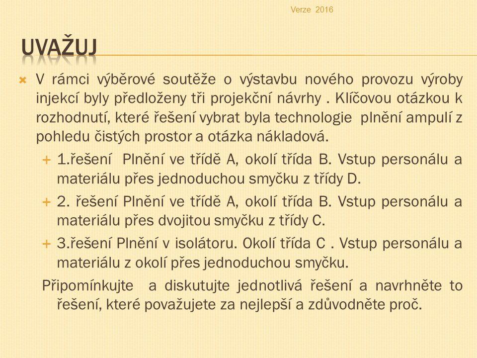  V rámci výběrové soutěže o výstavbu nového provozu výroby injekcí byly předloženy tři projekční návrhy.