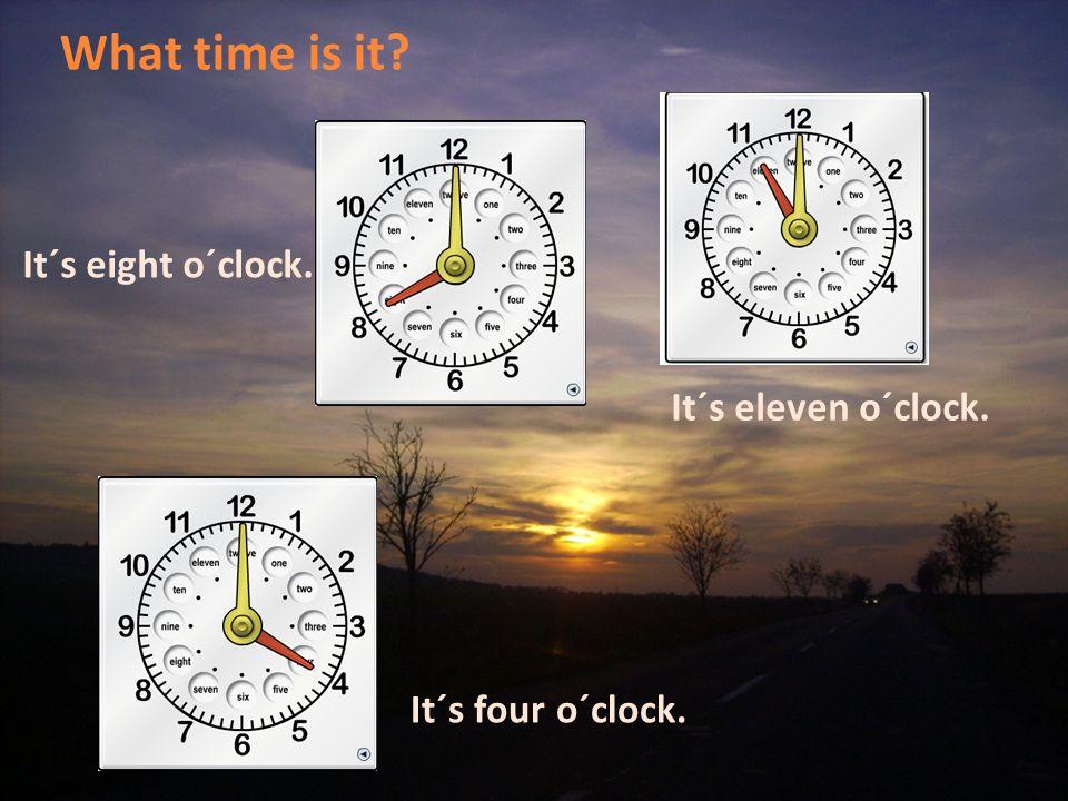 What time is it? It´s nine o´clock. It´s two o´clock. It´s three o´clock.