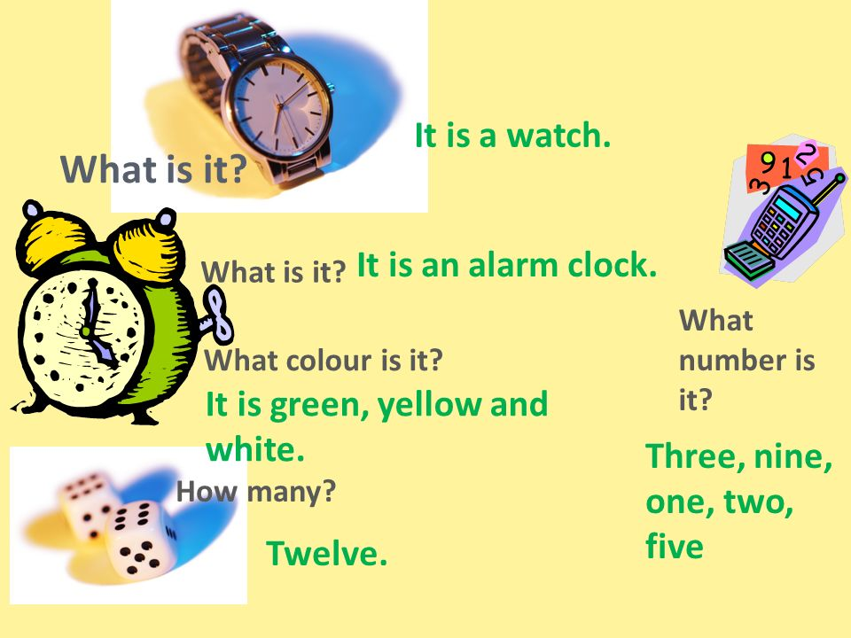 What is it. What colour is it. How many. What number is it.