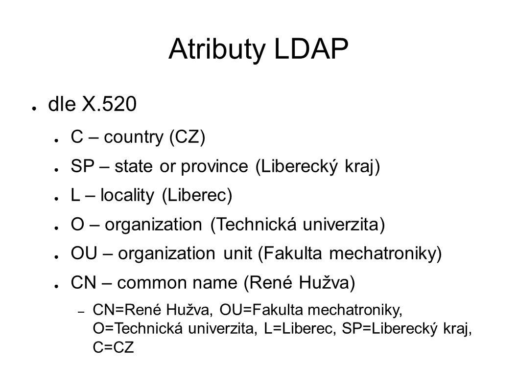 Atributy LDAP ● dle X.520 ● C – country (CZ) ● SP – state or province (Liberecký kraj) ● L – locality (Liberec) ● O – organization (Technická univerzi