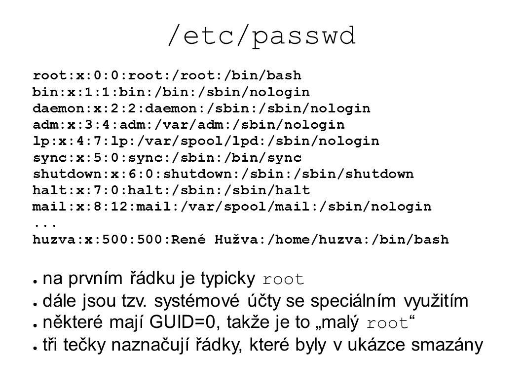 NIS ● původně Yellow Pages (YP) ● kolidovalo s ochrannou značkou v UK ● firma Sun Microsystem ● licencováno pro unixové systémy ● dnes spíše LDAP ( blíže k tomu, co má MS Windows ) ● uživatelé, hesla, názvy počítačů, e-mailové aliasy, skupiny a členství ve skupinách,...