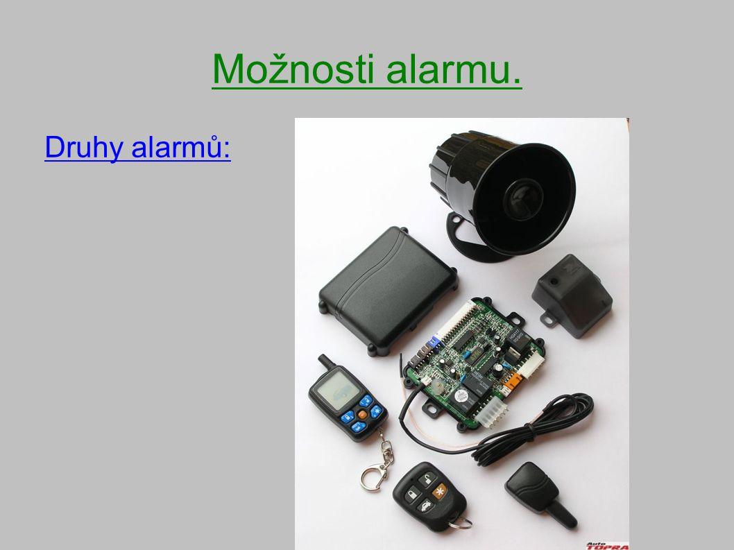 Možnosti alarmu. Druhy alarmů: