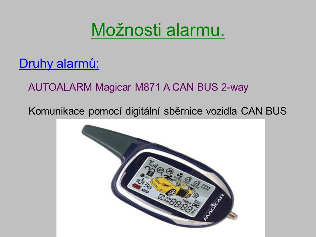 Možnosti alarmu. Druhy alarmů: AUTOALARM Magicar M871 A CAN BUS 2-way Komunikace pomocí digitální sběrnice vozidla CAN BUS