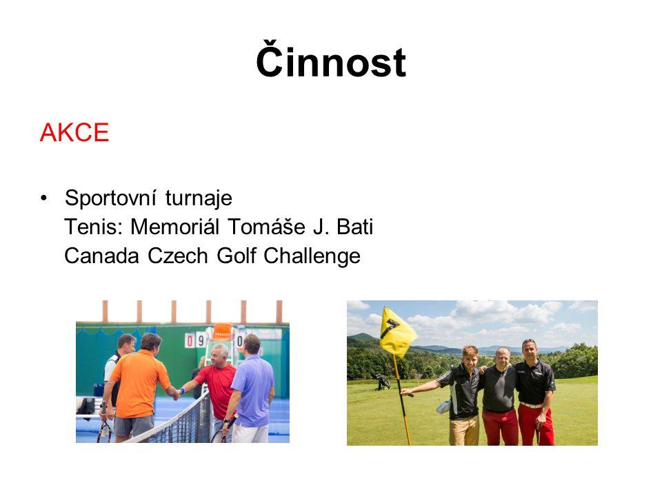 Činnost AKCE Sportovní turnaje Tenis: Memoriál Tomáše J. Bati Canada Czech Golf Challenge