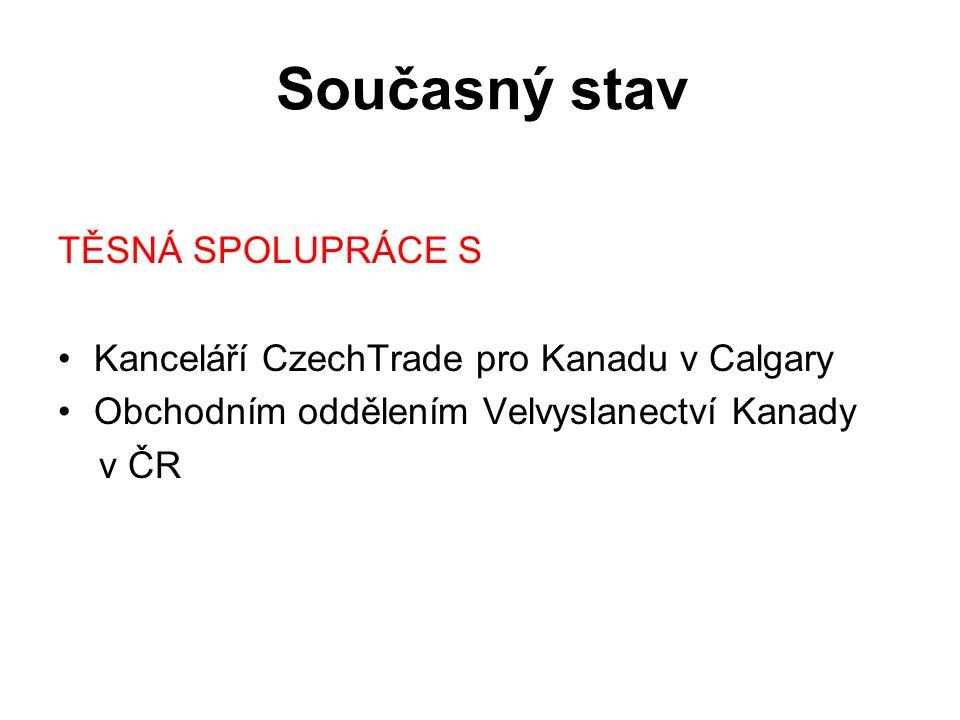 Současný stav TĚSNÁ SPOLUPRÁCE S Kanceláří CzechTrade pro Kanadu v Calgary Obchodním oddělením Velvyslanectví Kanady v ČR