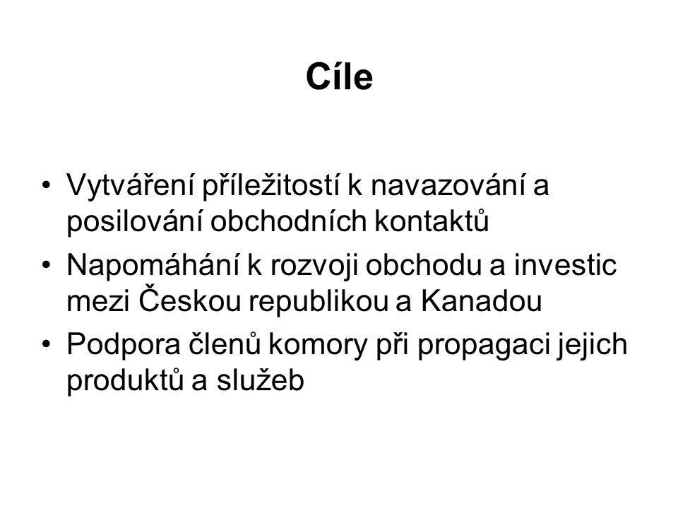 Cíle Vytváření příležitostí k navazování a posilování obchodních kontaktů Napomáhání k rozvoji obchodu a investic mezi Českou republikou a Kanadou Podpora členů komory při propagaci jejich produktů a služeb