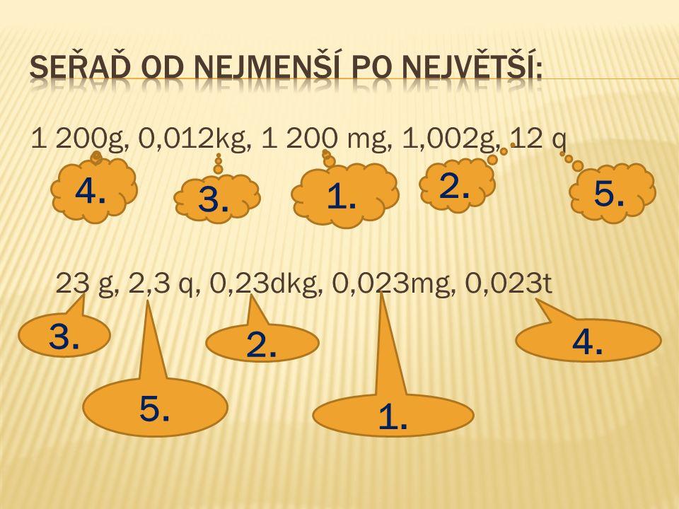 1 200g, 0,012kg, 1 200 mg, 1,002g, 12 q 23 g, 2,3 q, 0,23dkg, 0,023mg, 0,023t 2. 4. 3. 1. 5. 3. 5. 2. 1. 4.