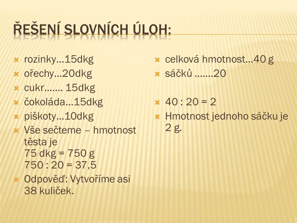  rozinky…15dkg  ořechy…20dkg  cukr……. 15dkg  čokoláda…15dkg  piškoty…10dkg  Vše sečteme – hmotnost těsta je 75 dkg = 750 g 750 : 20 = 37,5  Odp