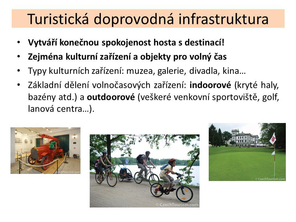 Turistická doprovodná infrastruktura Vytváří konečnou spokojenost hosta s destinací! Zejména kulturní zařízení a objekty pro volný čas Typy kulturních