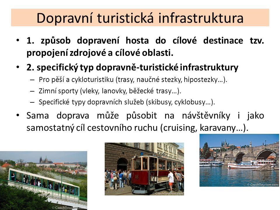 Dopravní turistická infrastruktura 1. způsob dopravení hosta do cílové destinace tzv. propojení zdrojové a cílové oblasti. 2. specifický typ dopravně-