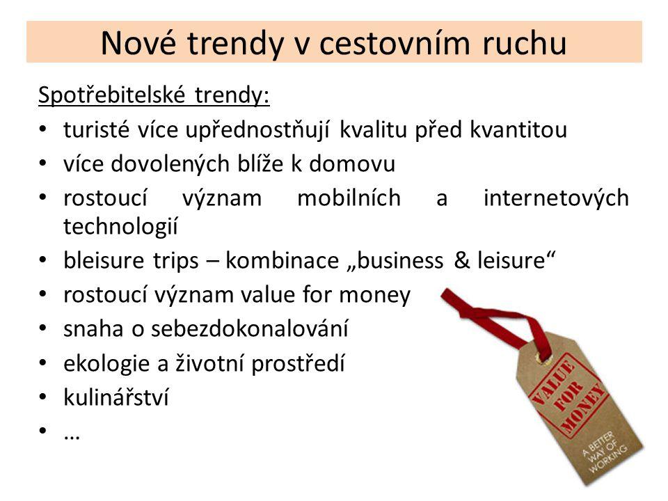 Nové trendy v cestovním ruchu Spotřebitelské trendy: turisté více upřednostňují kvalitu před kvantitou více dovolených blíže k domovu rostoucí význam