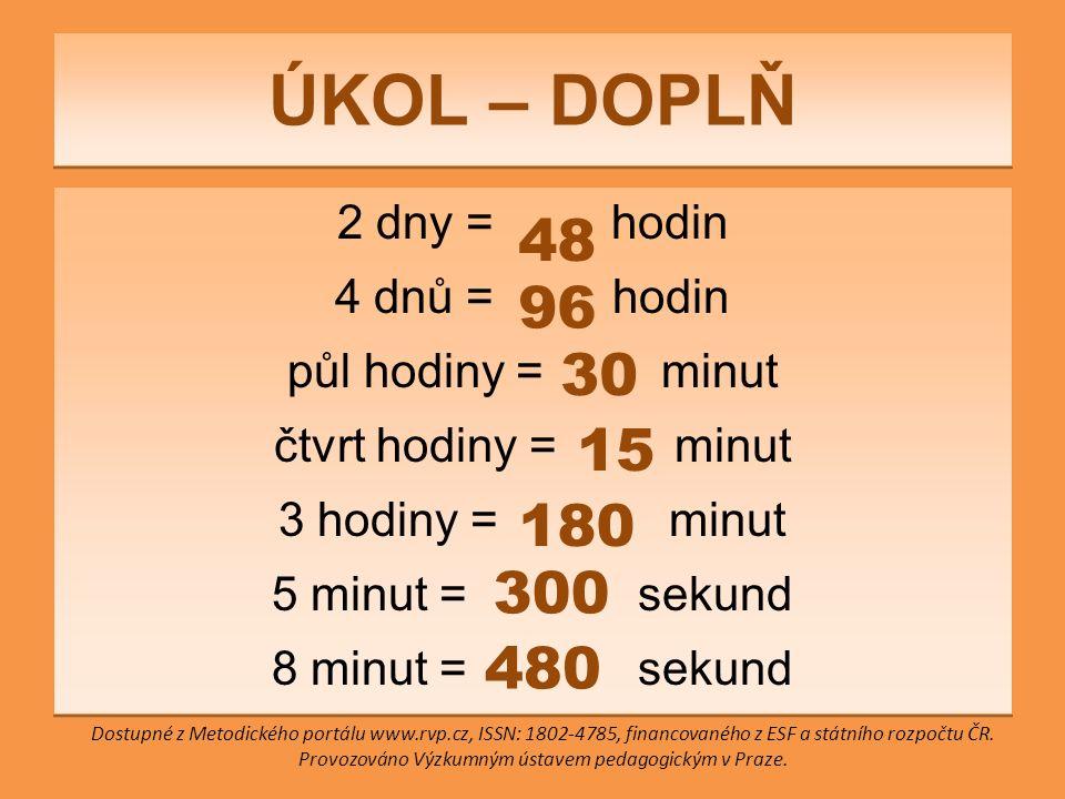 ÚKOL – DOPLŇ 2 dny = hodin 4 dnů = hodin půl hodiny = minut čtvrt hodiny = minut 3 hodiny = minut 5 minut = sekund 8 minut = sekund 2 dny = hodin 4 dnů = hodin půl hodiny = minut čtvrt hodiny = minut 3 hodiny = minut 5 minut = sekund 8 minut = sekund 48 96 30 15 180 300 480 Dostupné z Metodického portálu www.rvp.cz, ISSN: 1802-4785, financovaného z ESF a státního rozpočtu ČR.