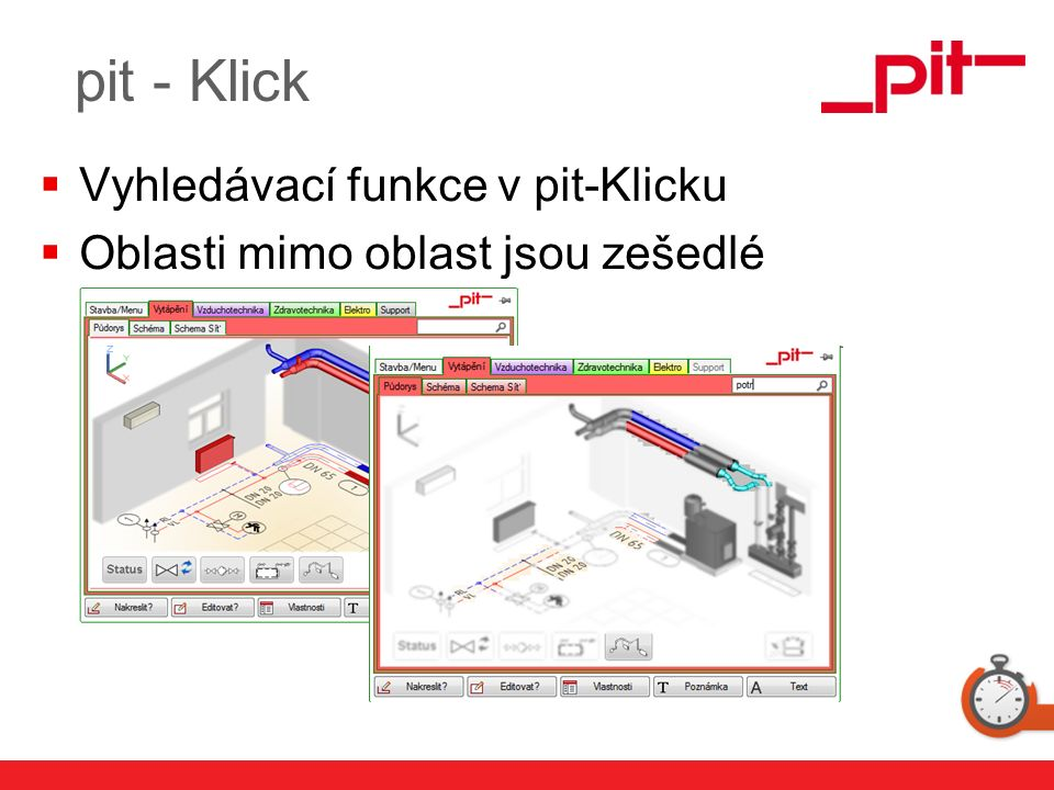 www.pit.de  Vyhledávací funkce v pit-Klicku  Oblasti mimo oblast jsou zešedlé pit - Klick