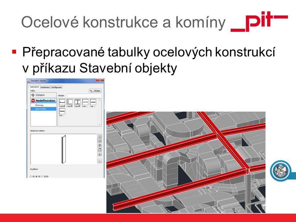 www.pit.de  Přepracované tabulky ocelových konstrukcí v příkazu Stavební objekty Ocelové konstrukce a komíny