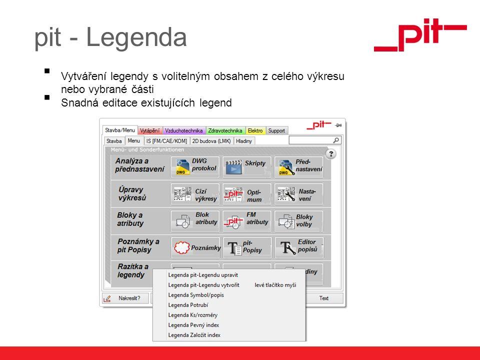 www.pit.de pit - Legenda  Vytváření legendy s volitelným obsahem z celého výkresu nebo vybrané části  Snadná editace existujících legend