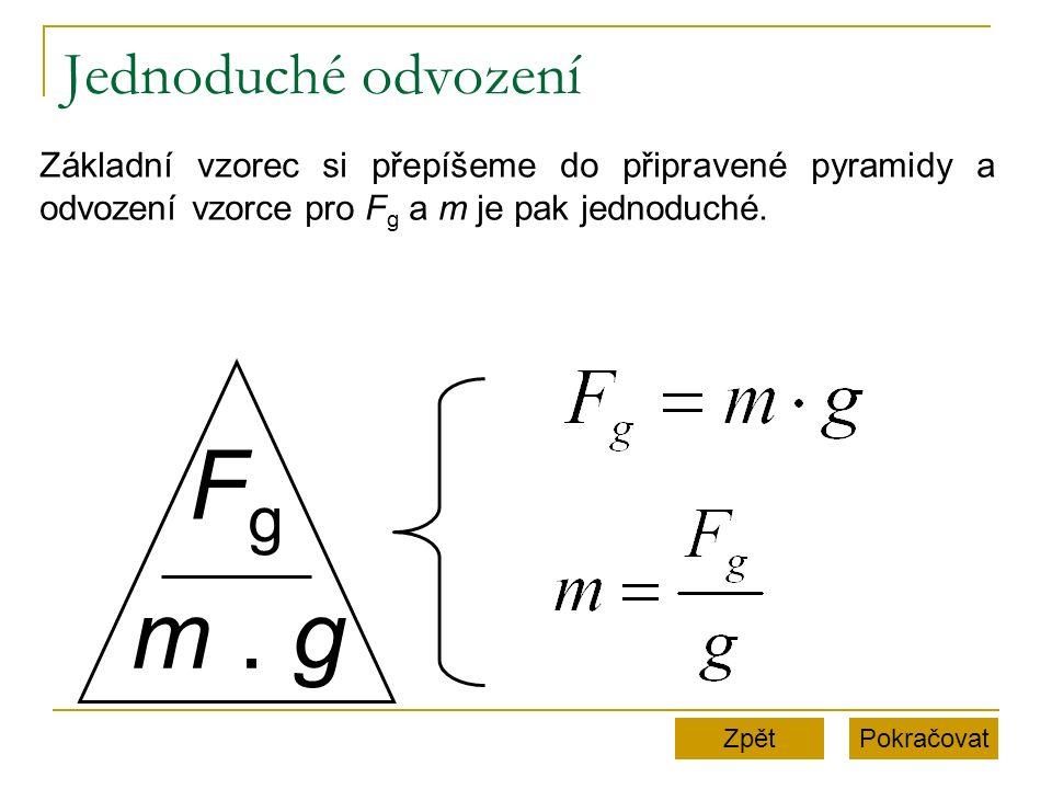 Jednoduché odvození Pokračovat FgFg m. g Základní vzorec si přepíšeme do připravené pyramidy a odvození vzorce pro F g a m je pak jednoduché. Zpět