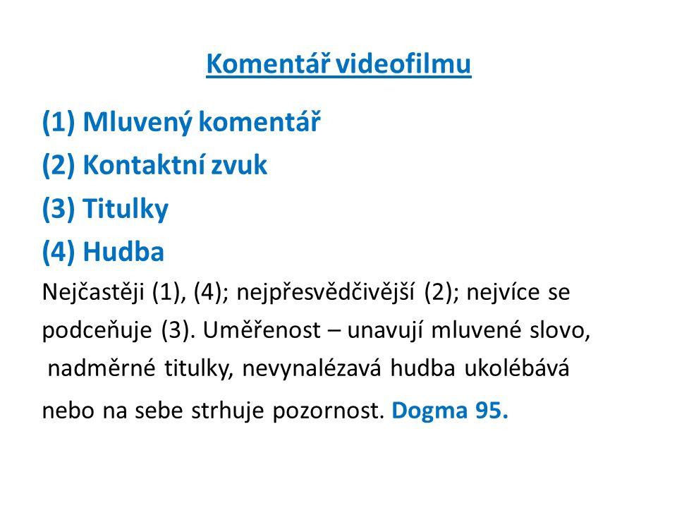 Komentář videofilmu (1) Mluvený komentář (2) Kontaktní zvuk (3) Titulky (4) Hudba Nejčastěji (1), (4); nejpřesvědčivější (2); nejvíce se podceňuje (3).