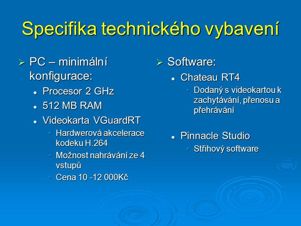 Specifika technického vybavení  PC – minimální konfigurace: Procesor 2 GHz Procesor 2 GHz 512 MB RAM 512 MB RAM Videokarta VGuardRT Videokarta VGuardRT Hardwerová akcelerace kodeku H.264Hardwerová akcelerace kodeku H.264 Možnost nahrávání ze 4 vstupůMožnost nahrávání ze 4 vstupů Cena 10 -12 000KčCena 10 -12 000Kč  Software: Chateau RT4 Dodaný s videokartou k zachytávání, přenosu a přehrávání Pinnacle Studio Střihový software