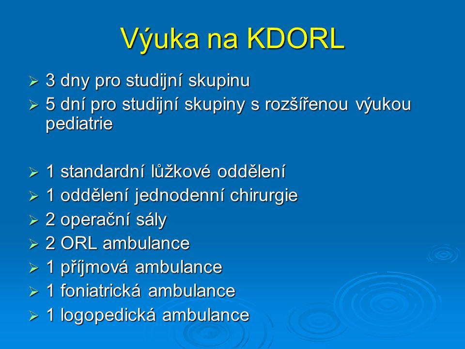 Výuka na KDORL  3 dny pro studijní skupinu  5 dní pro studijní skupiny s rozšířenou výukou pediatrie  1 standardní lůžkové oddělení  1 oddělení jednodenní chirurgie  2 operační sály  2 ORL ambulance  1 příjmová ambulance  1 foniatrická ambulance  1 logopedická ambulance